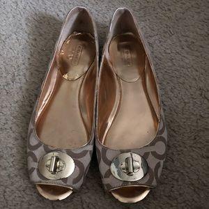 Peep toe ballet flats